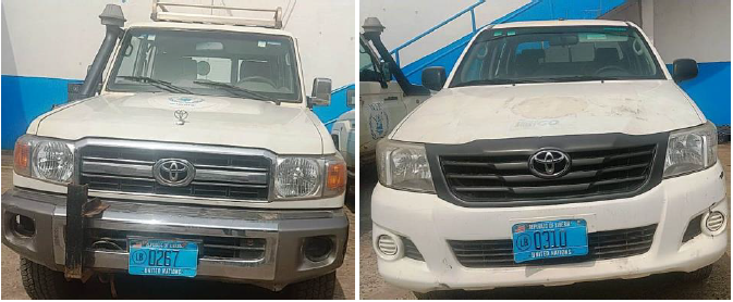 Two Toyota vehicles donated by WFP