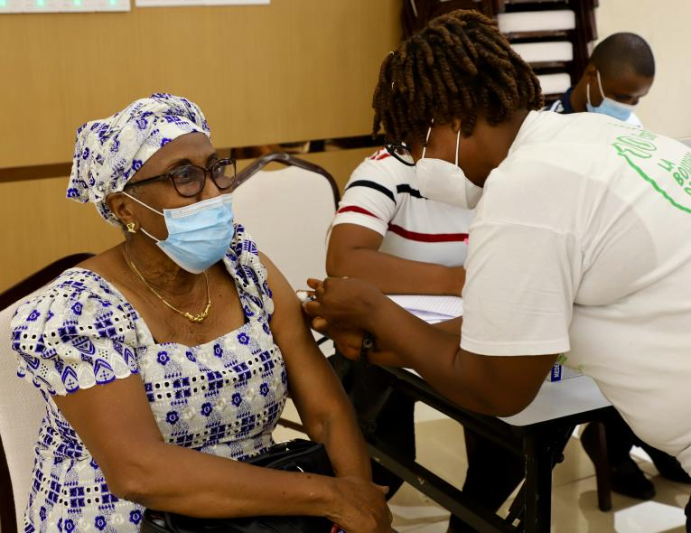 The rollout of the COVID-19 vaccination in Liberia where frontline workers and vulnerable groups are prioritised for receiving the vaccine.